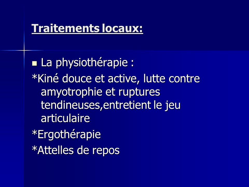 Traitements locaux: La physiothérapie : *Kiné douce et active, lutte contre amyotrophie et ruptures tendineuses,entretient le jeu articulaire.