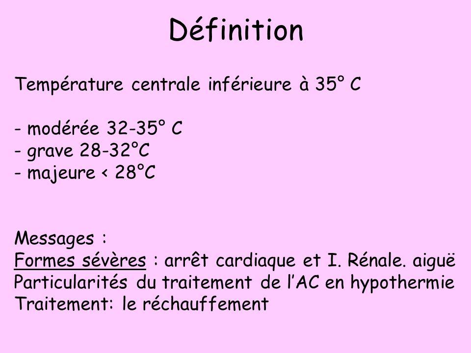 Définition Température centrale inférieure à 35° C - modérée 32-35° C