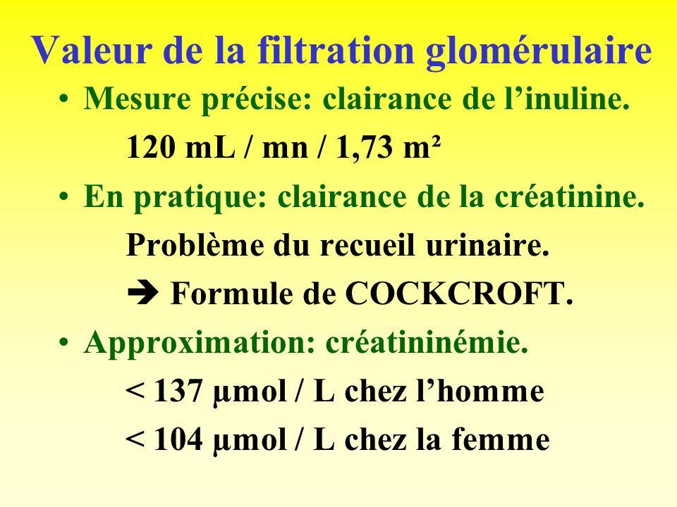 Valeur de la filtration glomérulaire
