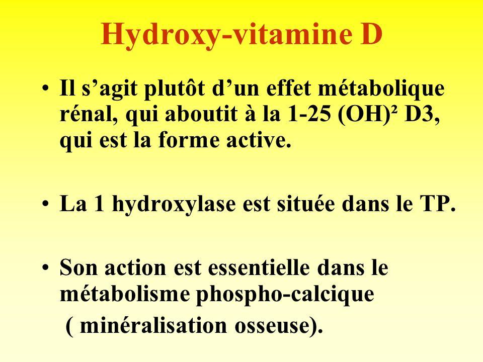 Hydroxy-vitamine D Il s'agit plutôt d'un effet métabolique rénal, qui aboutit à la 1-25 (OH)² D3, qui est la forme active.