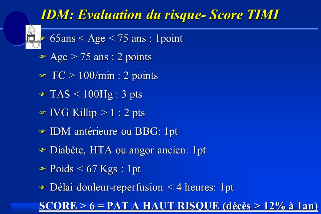 IDM: Evaluation du risque- Score TIMI