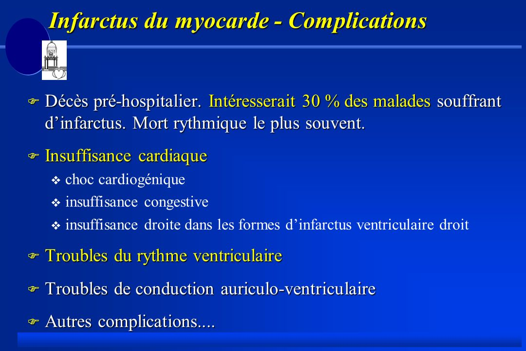 Infarctus du myocarde - Complications