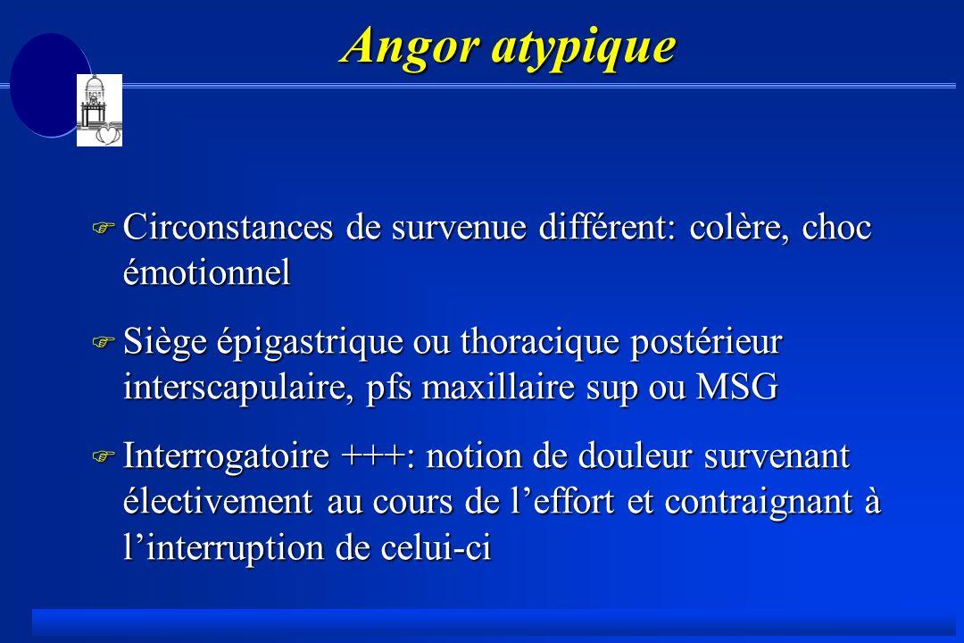 Angor atypique Circonstances de survenue différent: colère, choc émotionnel.