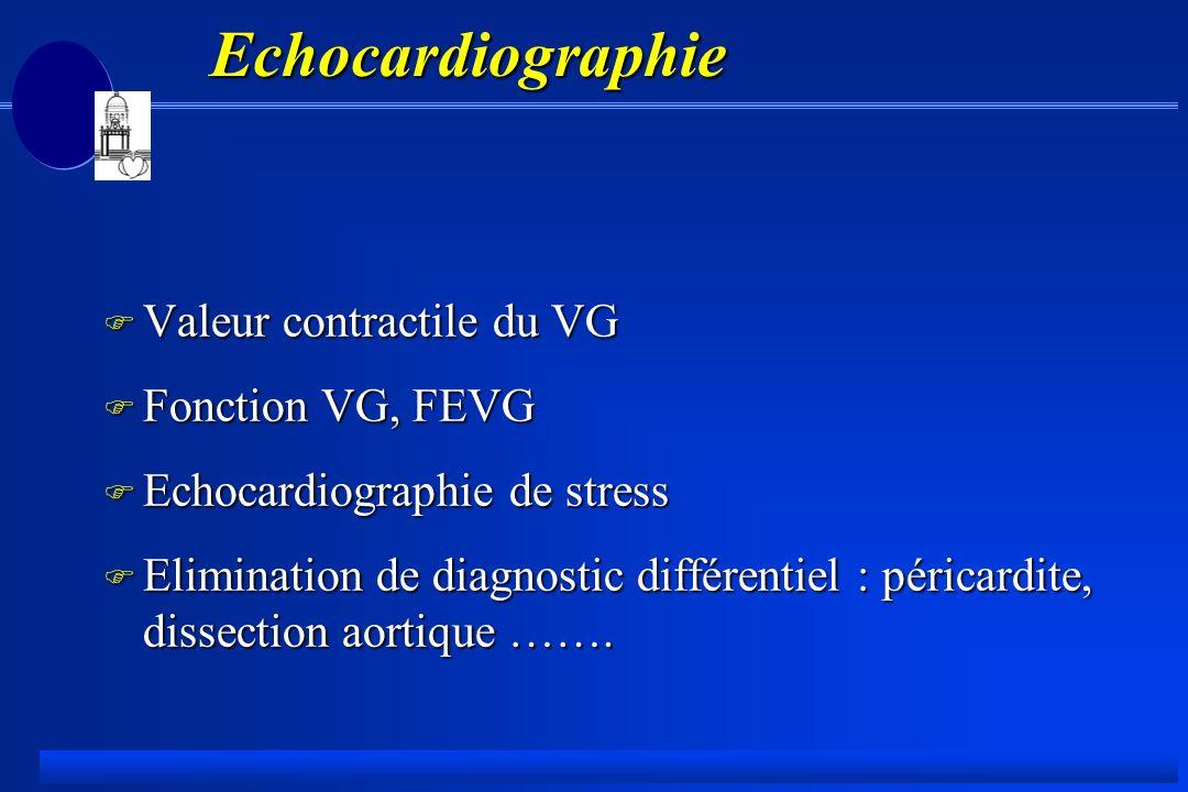 Echocardiographie Valeur contractile du VG Fonction VG, FEVG