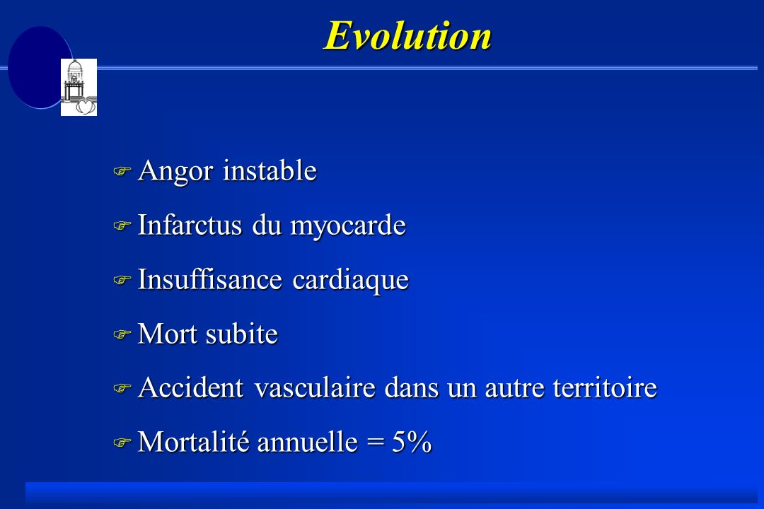 Evolution Angor instable Infarctus du myocarde Insuffisance cardiaque