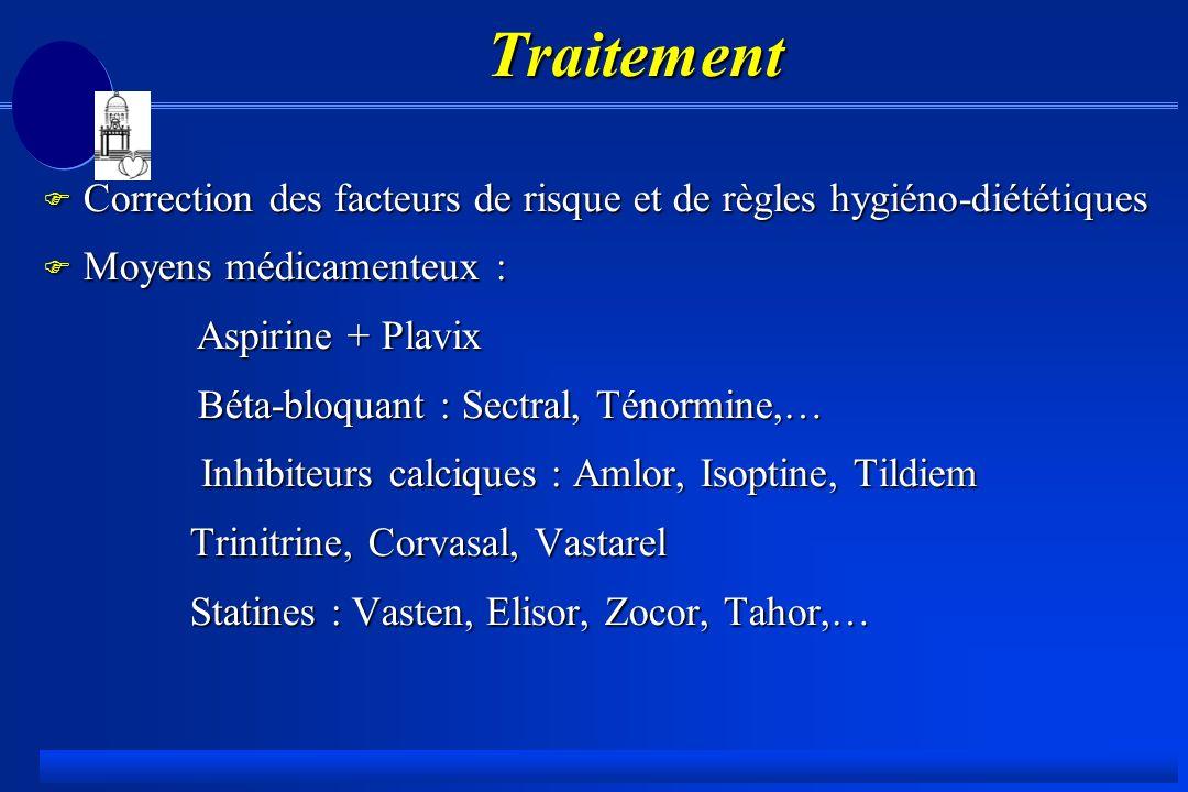 Traitement Correction des facteurs de risque et de règles hygiéno-diététiques. Moyens médicamenteux :
