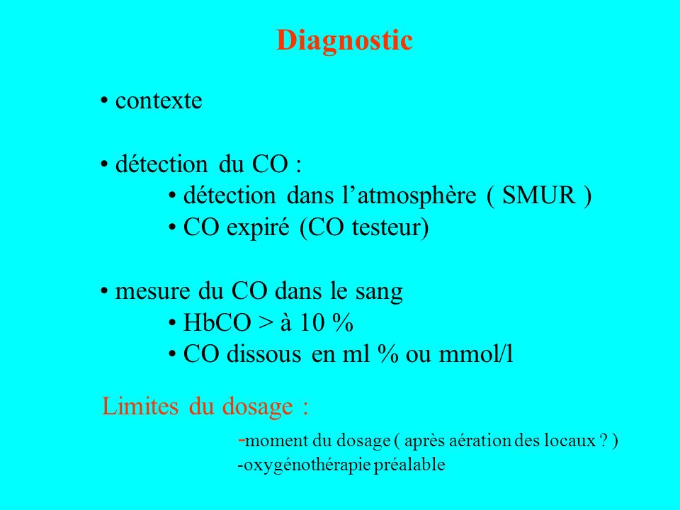 Diagnostic contexte détection du CO :
