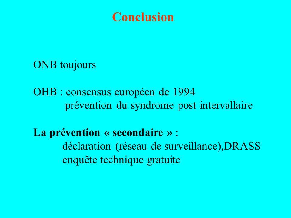 Conclusion ONB toujours OHB : consensus européen de 1994