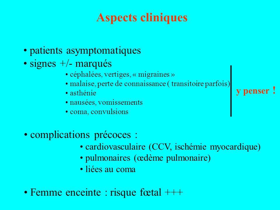 Aspects cliniques patients asymptomatiques signes +/- marqués