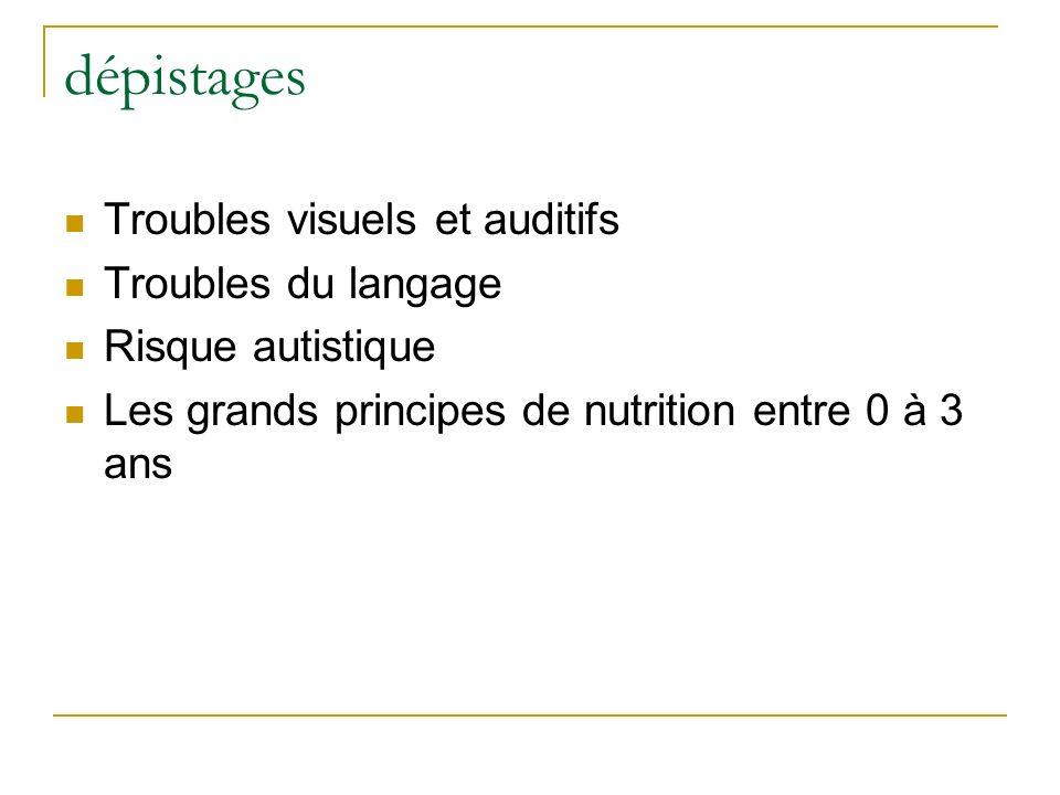 dépistages Troubles visuels et auditifs Troubles du langage