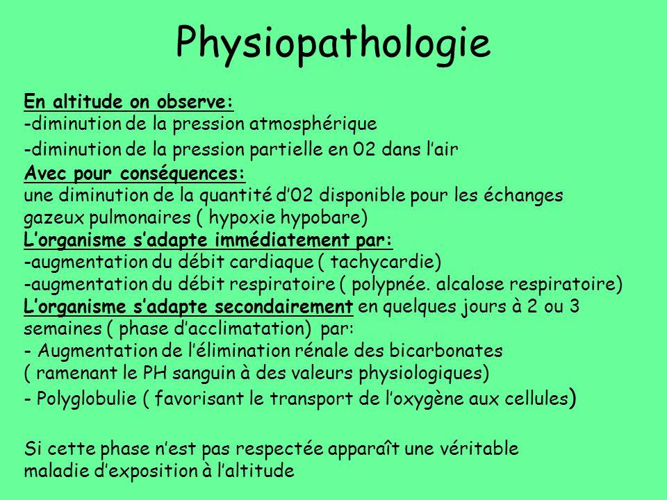 Physiopathologie En altitude on observe: