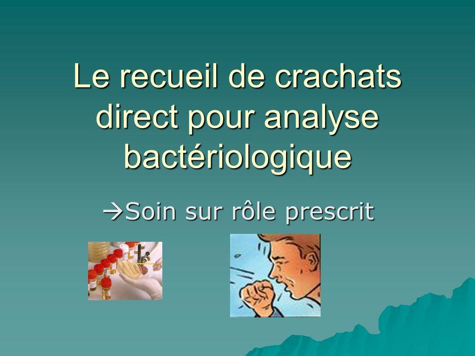 Le recueil de crachats direct pour analyse bactériologique