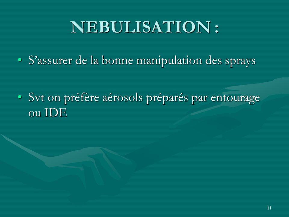 NEBULISATION : S'assurer de la bonne manipulation des sprays