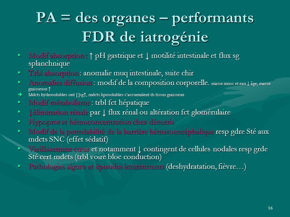 PA = des organes – performants FDR de iatrogénie