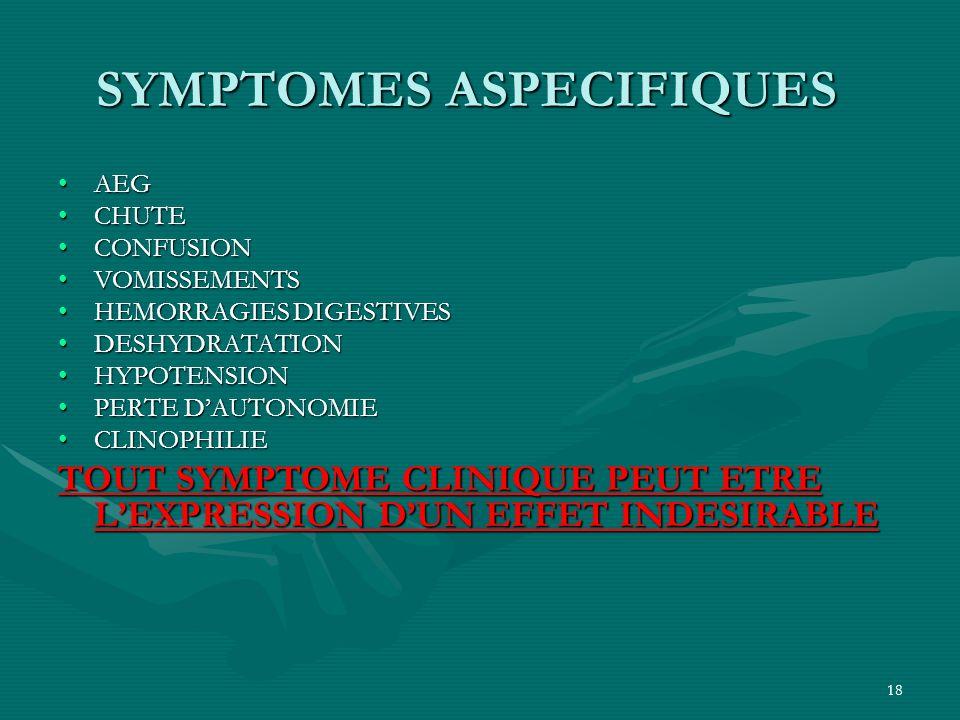 SYMPTOMES ASPECIFIQUES