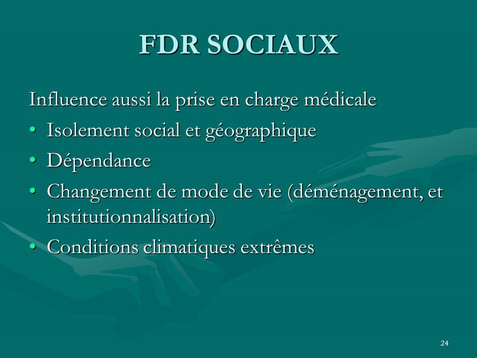 FDR SOCIAUX Influence aussi la prise en charge médicale