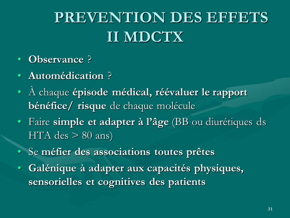 PREVENTION DES EFFETS II MDCTX
