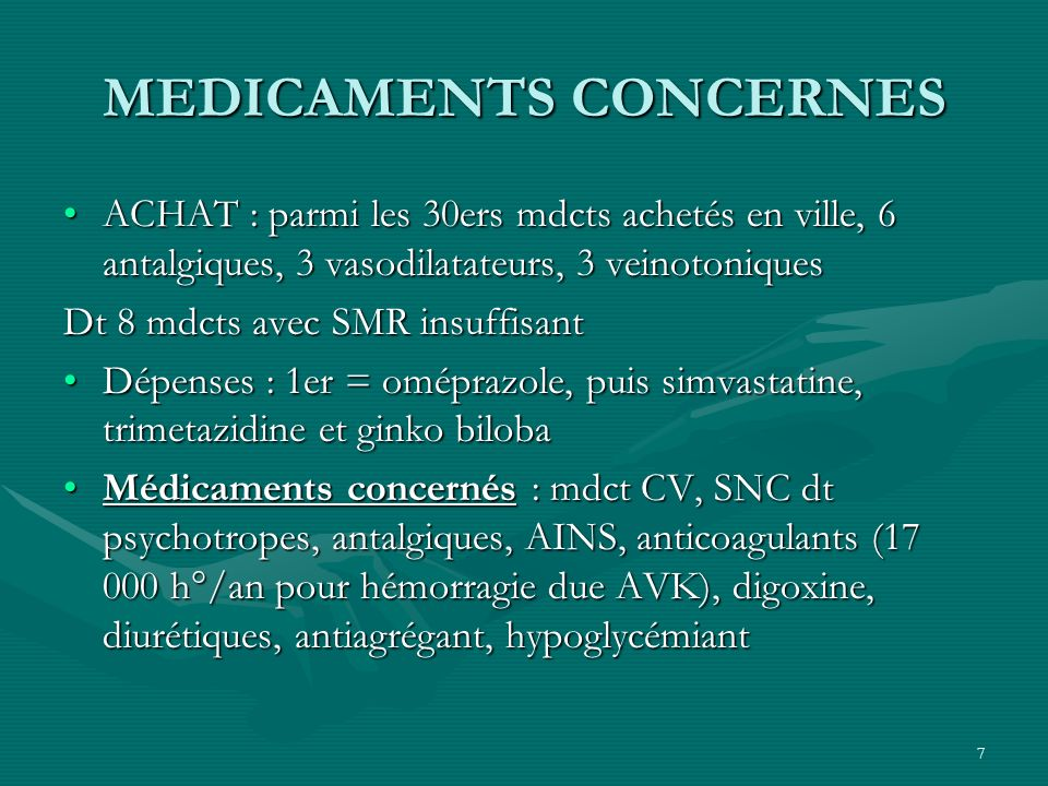 MEDICAMENTS CONCERNES