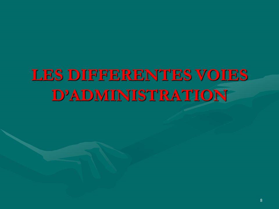 LES DIFFERENTES VOIES D'ADMINISTRATION