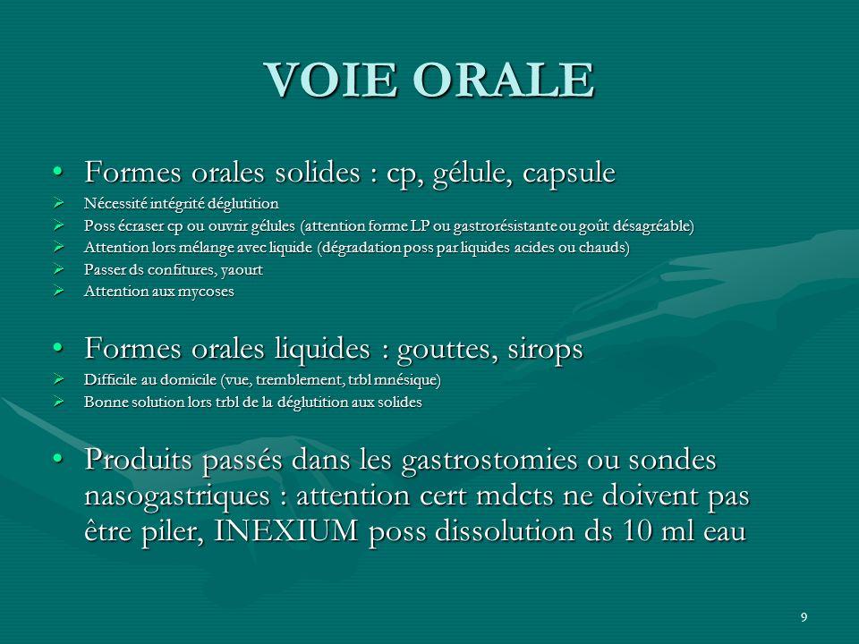 VOIE ORALE Formes orales solides : cp, gélule, capsule