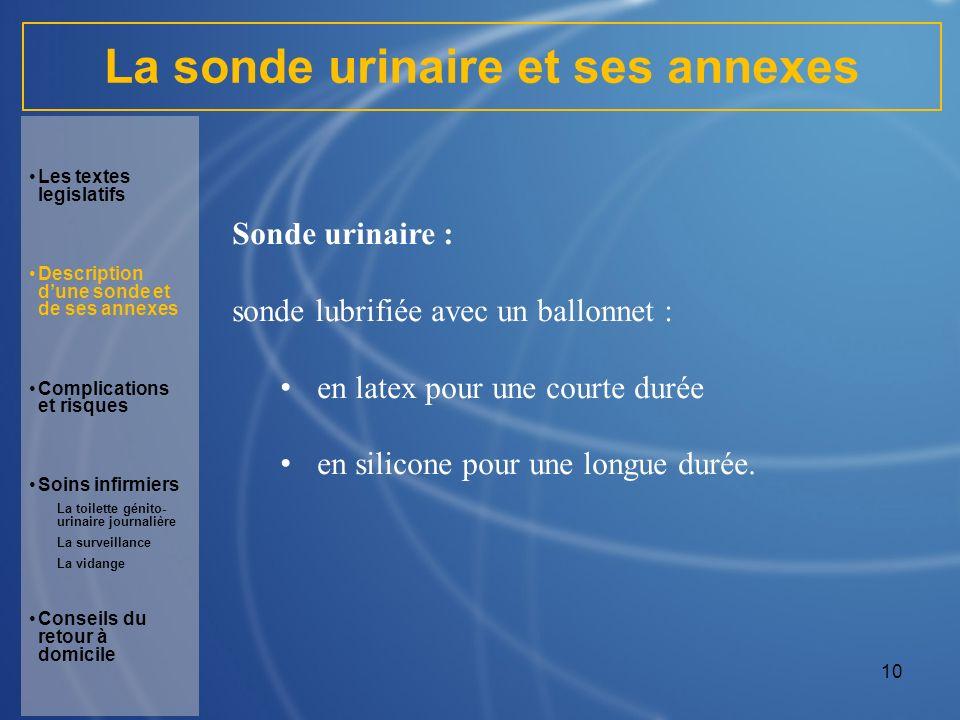 La sonde urinaire et ses annexes
