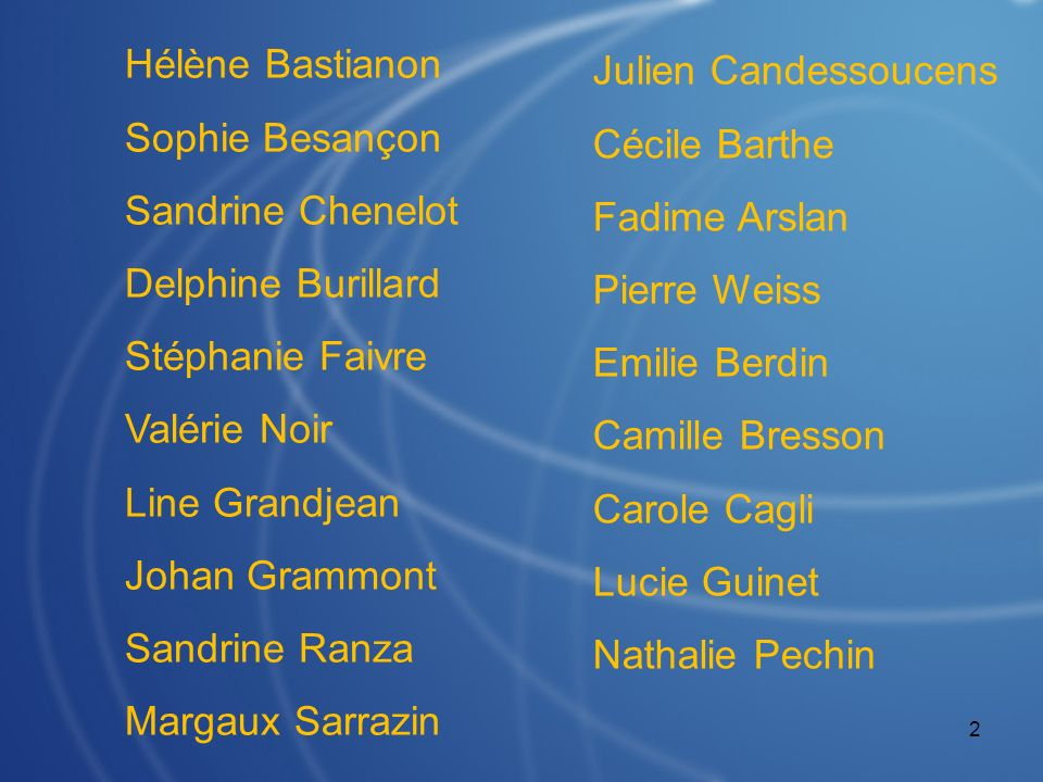 Hélène Bastianon Sophie Besançon. Sandrine Chenelot. Delphine Burillard. Stéphanie Faivre. Valérie Noir.