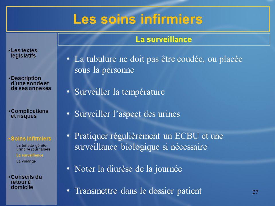 Les soins infirmiers La surveillance. Les textes legislatifs. Description d'une sonde et de ses annexes.