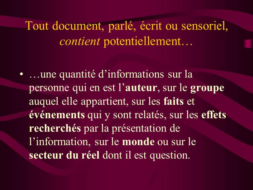 Tout document, parlé, écrit ou sensoriel, contient potentiellement…