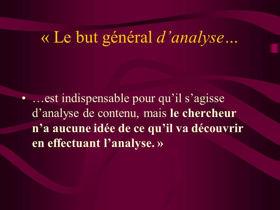 « Le but général d'analyse…