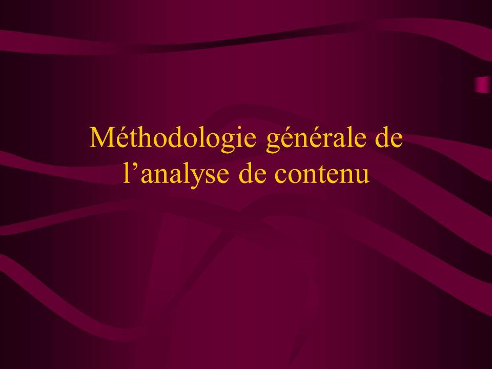 Méthodologie générale de l'analyse de contenu