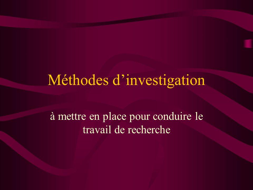 Méthodes d'investigation