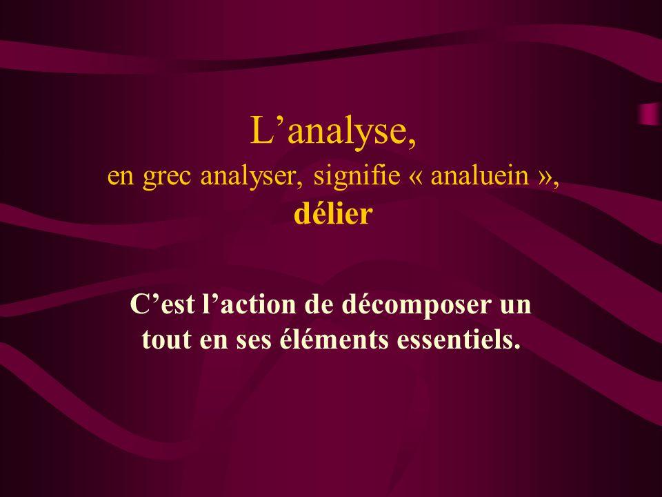 L'analyse, en grec analyser, signifie « analuein », délier