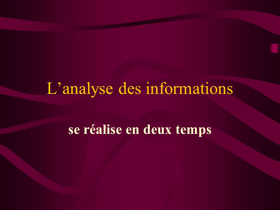 L'analyse des informations
