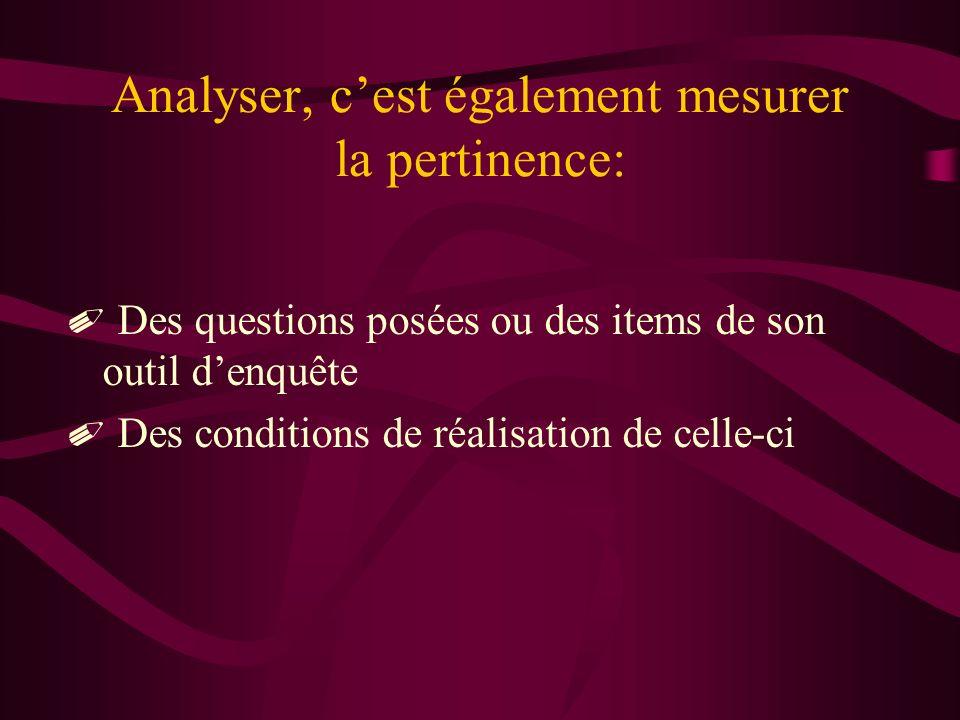 Analyser, c'est également mesurer la pertinence:
