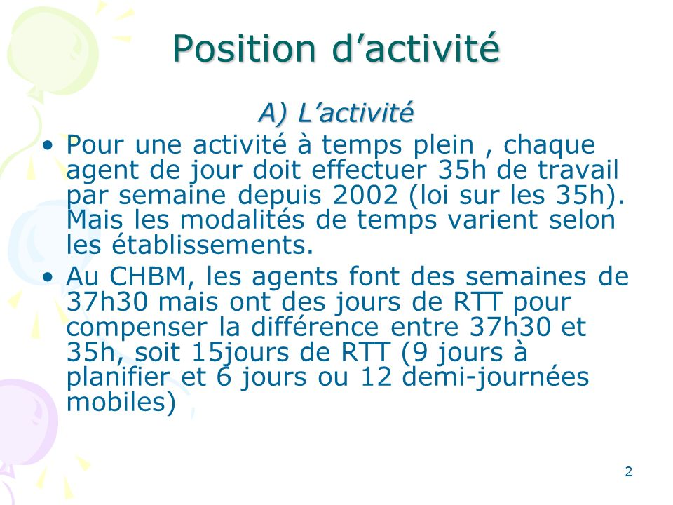 Position d'activité A) L'activité