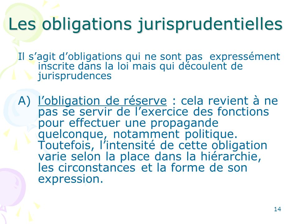 Les obligations jurisprudentielles