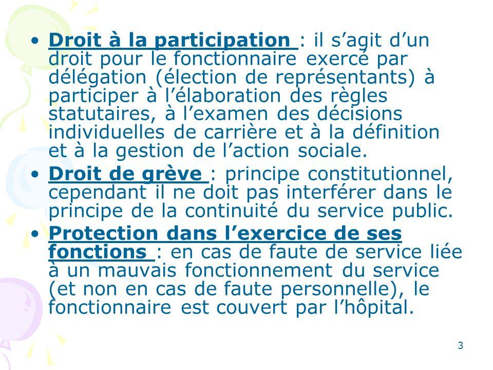 Droit à la participation : il s'agit d'un droit pour le fonctionnaire exercé par délégation (élection de représentants) à participer à l'élaboration des règles statutaires, à l'examen des décisions individuelles de carrière et à la définition et à la gestion de l'action sociale.