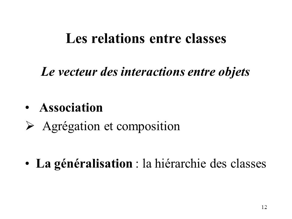 Les relations entre classes