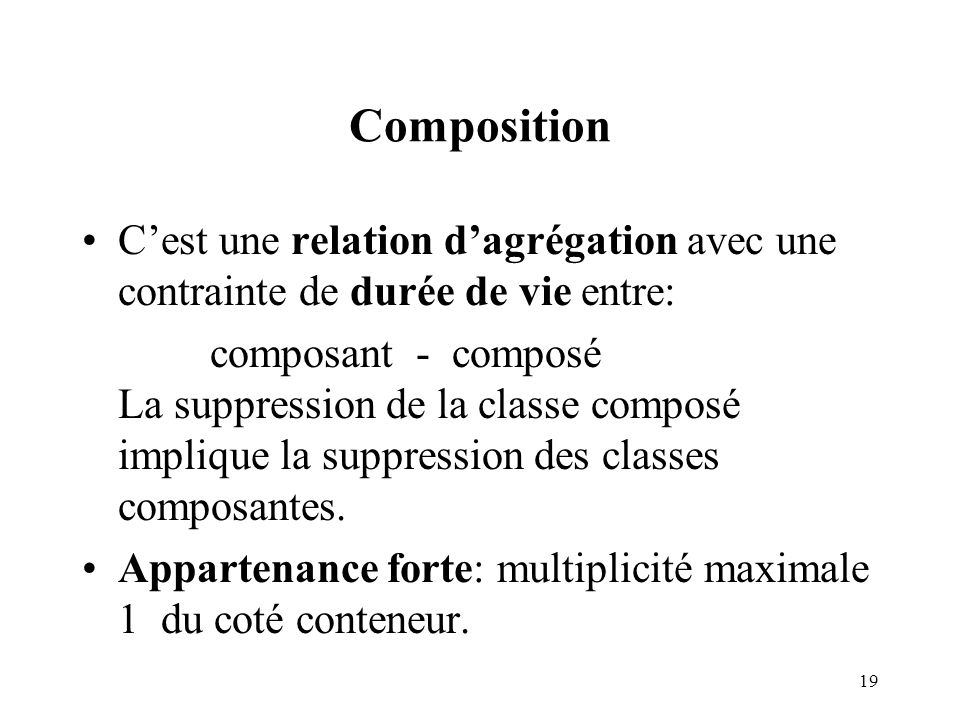 CompositionC'est une relation d'agrégation avec une contrainte de durée de vie entre: