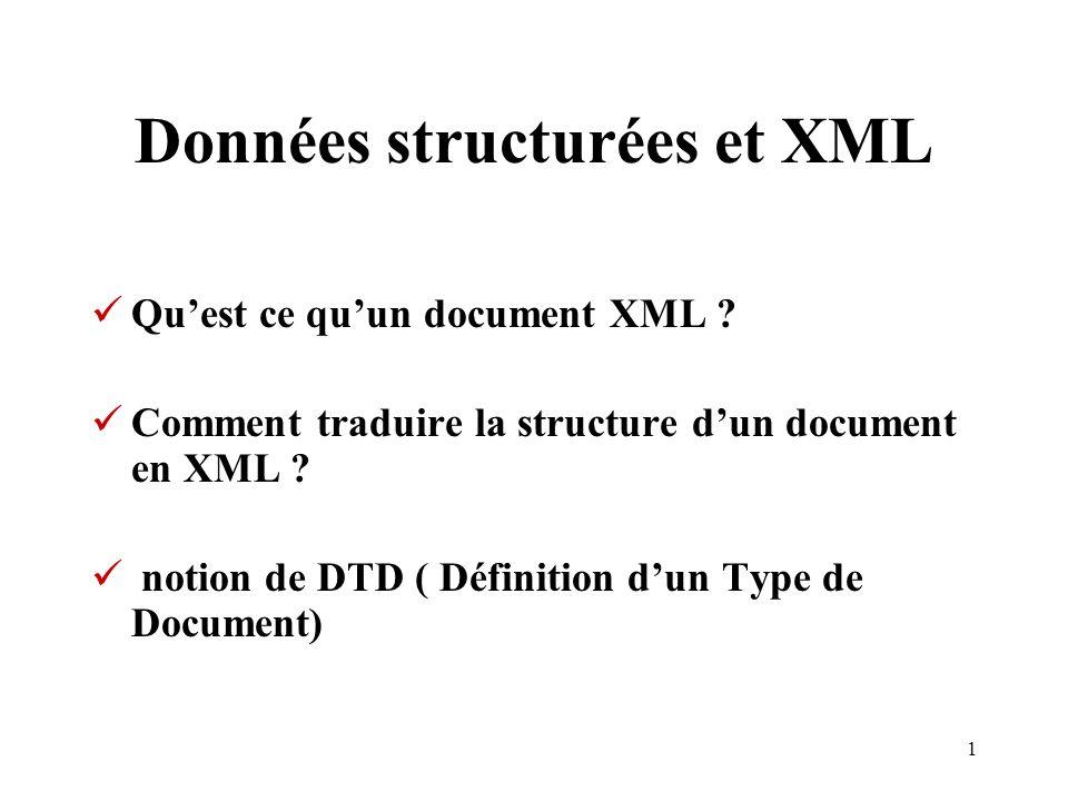 Données structurées et XML