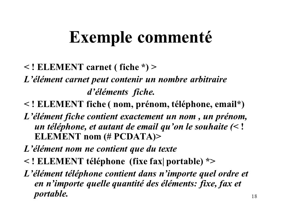 Exemple commenté < ! ELEMENT carnet ( fiche *) >