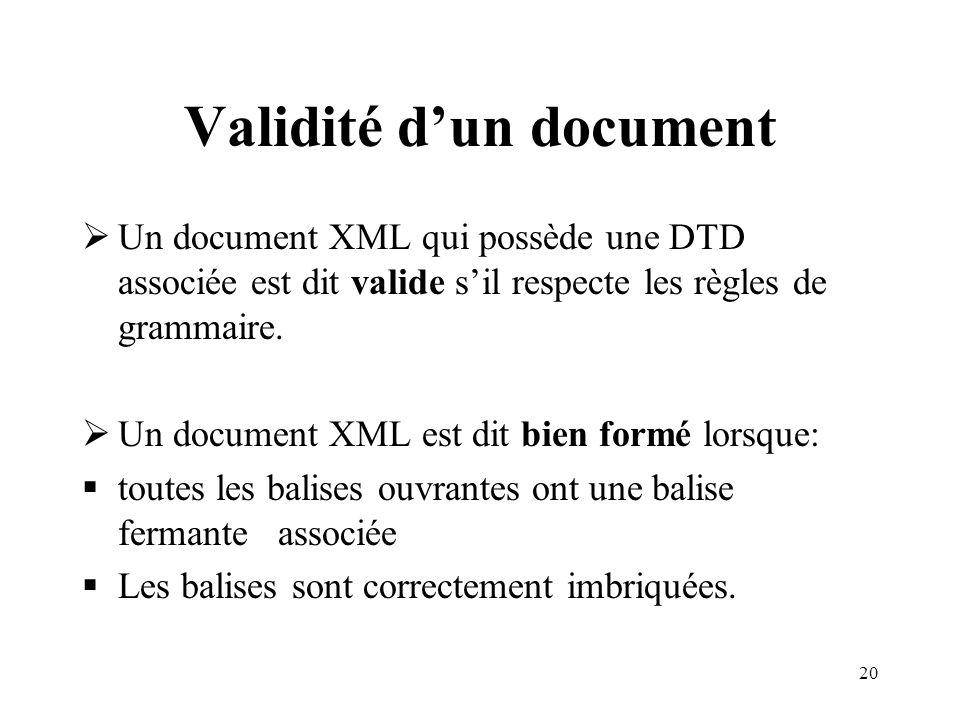 Validité d'un document