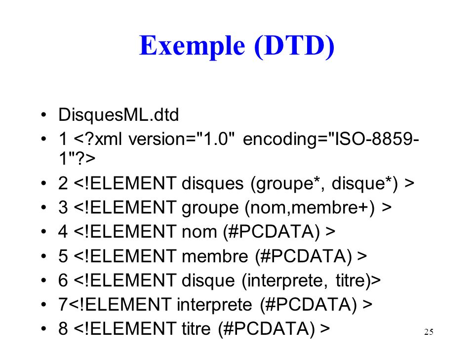 Exemple (DTD) DisquesML.dtd