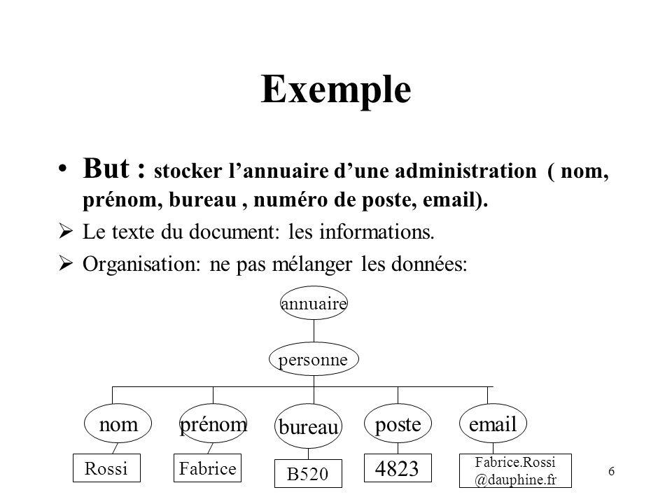 Exemple But : stocker l'annuaire d'une administration ( nom, prénom, bureau , numéro de poste, email).