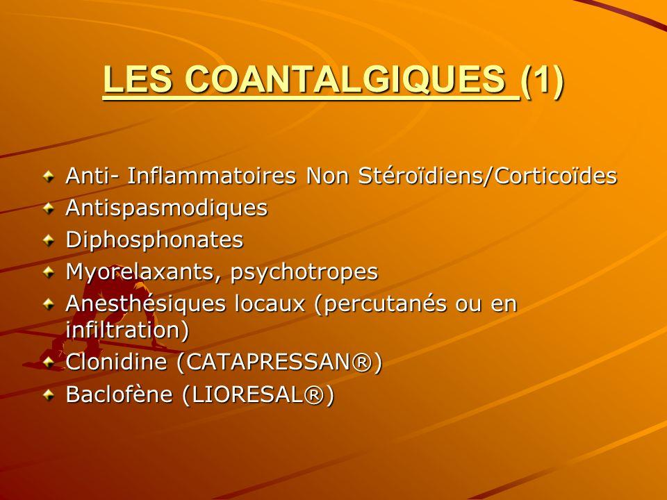 LES COANTALGIQUES (1) Anti- Inflammatoires Non Stéroïdiens/Corticoïdes