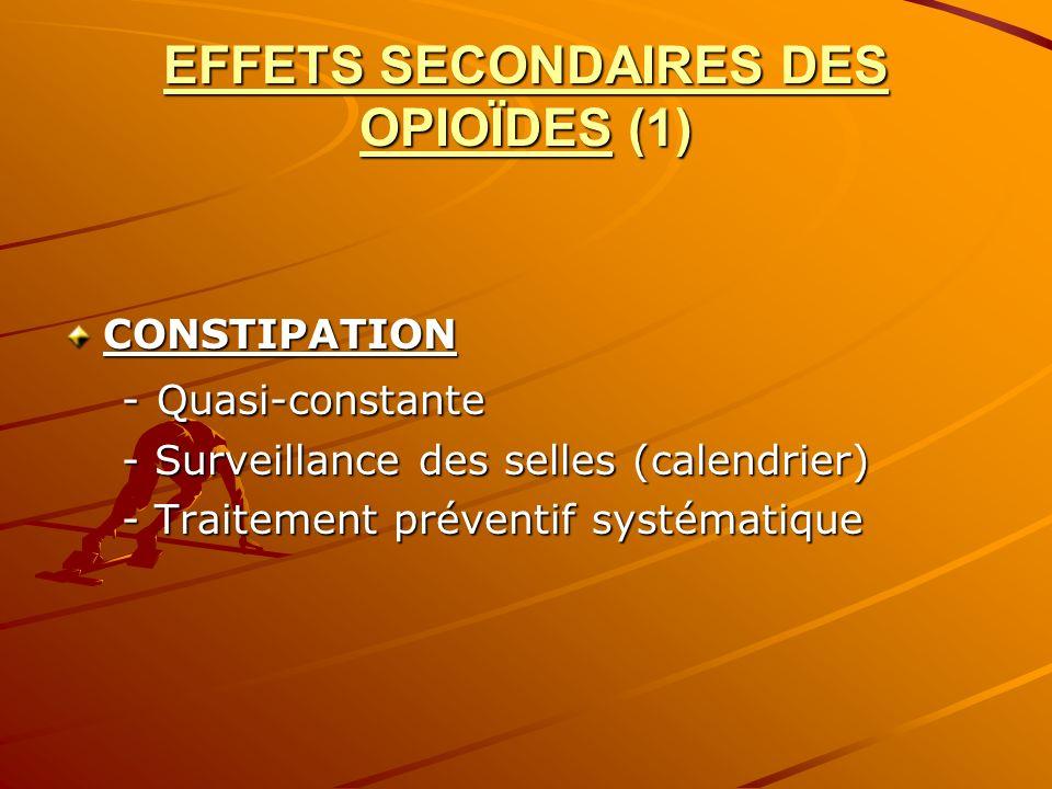 EFFETS SECONDAIRES DES OPIOÏDES (1)