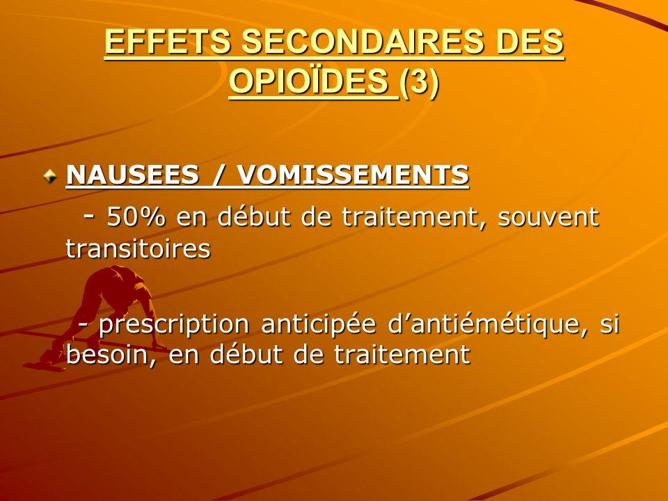EFFETS SECONDAIRES DES OPIOÏDES (3)