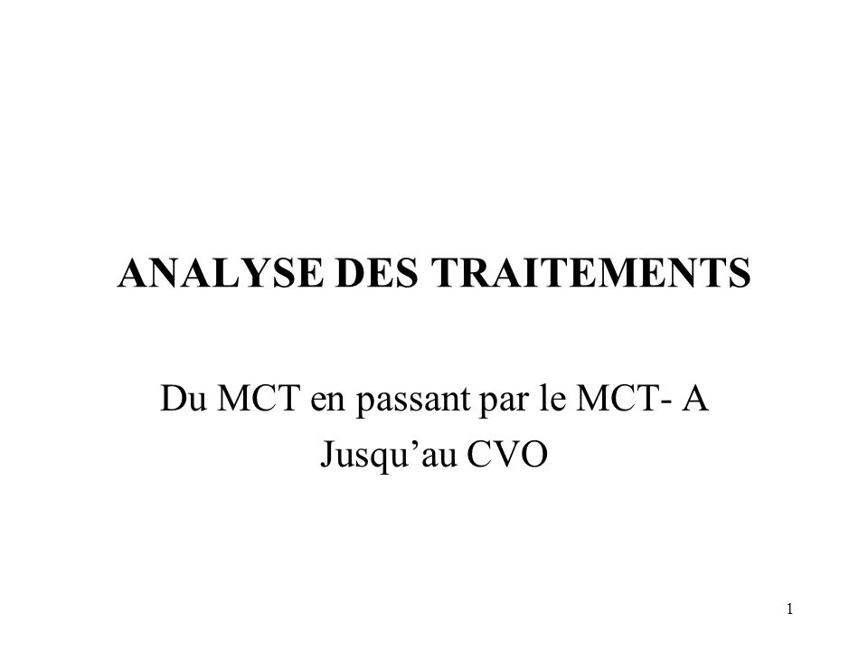 ANALYSE DES TRAITEMENTS