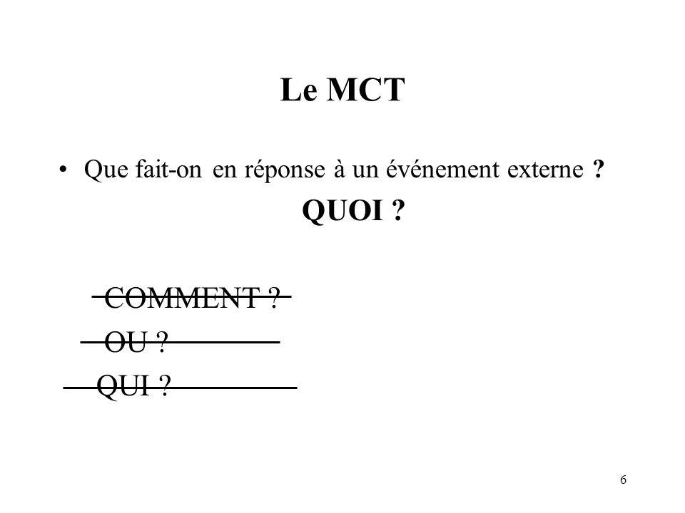 Le MCT QUOI COMMENT OU QUI
