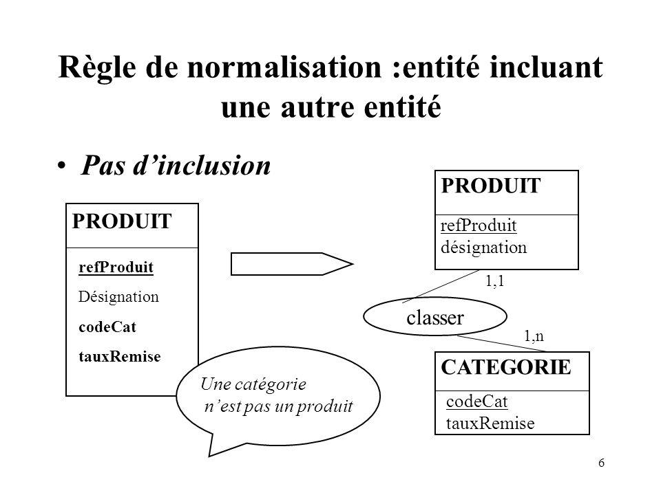 Règle de normalisation :entité incluant une autre entité